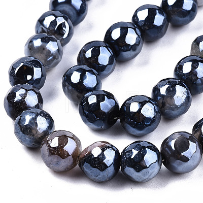 Electroplate Natural Agate Beads StrandsG-T131-54A-1