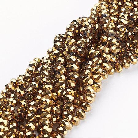 Electroplate Glass Beads StrandsGR4X6MMY-G-1