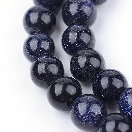 Synthetic Blue Goldstone Beads StrandsG-Q462-6mm-28-1