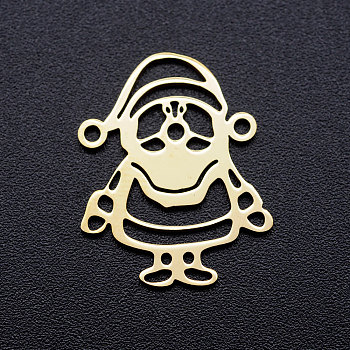 201 Stainless Steel Stamping Blank Links connectors, Christmas Santa Claus, Golden, 21x16.5x1mm, Hole: 1.2mm