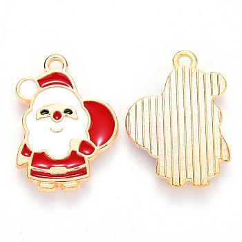 Alloy Enamel Pendants, for Christmas, Flat Back, Santa Claus, Light Gold, Red, 22x16x1mm, Hole: 1.4mm