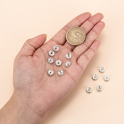 200pcs Clear White Rhinestone Rondelle Spacer BeadsRB-A014-Z8mm-01S-1
