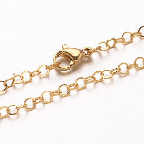 Vacuum Plating 304 Stainless Steel Rolo Chain NecklacesNJEW-F201-03G-1