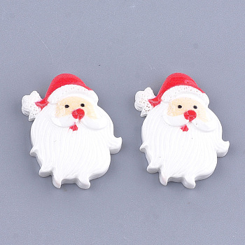 Resin Cabochons, Father Christmas, White, 24.5x20x5mm