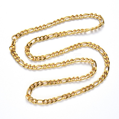 304 Stainless Steel Figaro Chain NecklacesNJEW-S420-003B-G-1