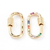Brass Micro Pave Cubic Zirconia Screw Carabiner Lock Charms ZIRC-L093-58B-G-2