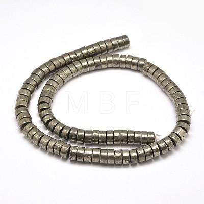 Flat Round/Disc Natural Pyrite Beads StrandsG-I126-23-6x4mm-1