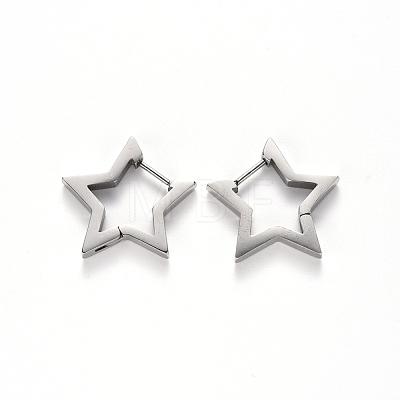 304 Stainless Steel Huggie Hoop EarringsSTAS-S103-26P-1