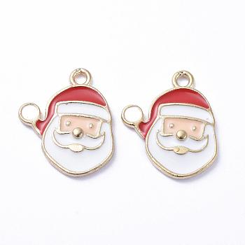 Golden Plated Alloy Enamel Pendants, for Christmas, Santa Claus, White, 16x14x1mm, Hole: 1mm