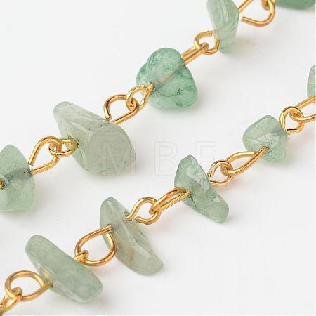 Handmade Brass Natural Green Aventurine Chip Beaded ChainsAJEW-JB00212-03-1