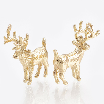 Brass Pendants, Real 18K Gold Plated, Christmas Reindeer/Stag, 19x16x8mm, Hole: 1mm