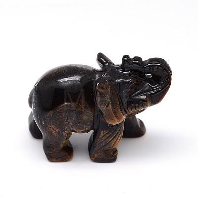 Natural Tiger Eye 3D Elephant Home Display DecorationsG-A137-B01-01-1