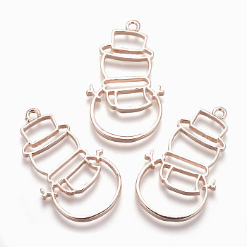 Rack Plating Alloy Open Back Bezel Pendants, For DIY UV Resin, Epoxy Resin, Pressed Flower Jewelry, Lead Free & Nickel Free, Christmas Snowman, Rose Gold, 43x25x2.5mm, Hole: 2mm