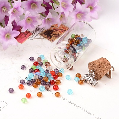 Faceted Rondelle Transparent Glass Beads GLAA-R152-4mm-M1-1