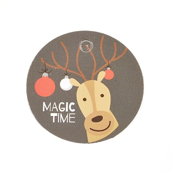 Paper Gift Tags, Hange Tags, For Arts and Crafts, For Christmas, Flat Round with Christmas Reindeer/Stag Pattern, Colorful, 30x0.3mm, Hole: 3mm